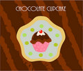 Cupcake chocolate card Royalty Free Stock Image