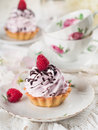 Cupcake with chocolate and raspberry selective focus Stock Images