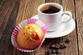 Cupcake and coffee with jujube cup of on wooden table Stock Images