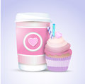 Cupcake and coffee for valentines day vector Stock Photography