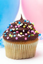 Cupcake with confetti Royalty Free Stock Photography
