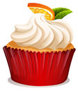 Cupcake with cream and orange