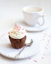 Cupcake with creamcheese icing Stock Photos