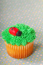 Cupcake decorated with grass frosting Royalty Free Stock Photo