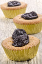 Cupcake with dried bite size prune Royalty Free Stock Image