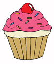 Cupcake hand drawn illustration of a Stock Images