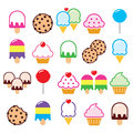Cupcake, ice-cream, cookie, lollipop icons Royalty Free Stock Photo