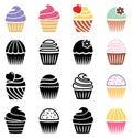 Cupcake icons, vector