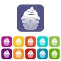 Cupcake icons set flat