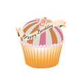 Cupcake illustration isolated on white background. Happy birthday tag ribbon. Pink orange. Pearls. Flowers on top.