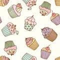 Cupcake illustration. Pastry set.