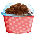 A cupcake inside the pink polkadot container illustration of on white background Royalty Free Stock Image