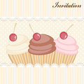 Cupcake invitation card with cute cupcakes Royalty Free Stock Photography