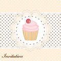 Cupcake invitation card with cute pink Stock Photography