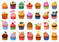 Cupcake isolated cartoon set icon. Vector illustration muffin on white background. Vector cartoon set icon cupcake .
