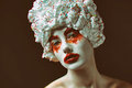 Cupcake lady on black isolated stylish photo Royalty Free Stock Photography