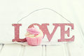 Cupcake love decorated for valentines day Stock Image