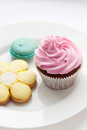Cupcake and macaroon Stock Photography