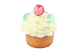 Cupcake one cream isolated on white Royalty Free Stock Photo