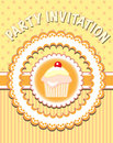 Cupcake pary invitation Royalty Free Stock Photo