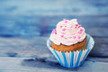 Cupcake photo of cute on wooden background Royalty Free Stock Image