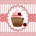 Cupcake on the pink background Royalty Free Stock Photography