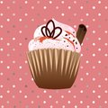 Cupcake on the pink background with cinnamon Royalty Free Stock Photo