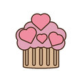 Cupcake pink hearts wedding snack icon