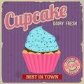 Cupcake retro poster Royalty Free Stock Photo