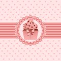 Cupcake ribbon and hearts vector illustration of on with Stock Photography