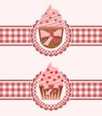 Cupcake ribbon vector illustration of cupcakes on ribbons Stock Photo