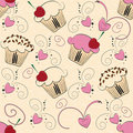 Cupcake seamless pattern Stock Photo