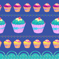 Cupcake seamless pattern with cute cupcakes Stock Photos