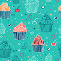 Cupcake seamless pattern doodle with cupcakes cherries and heart shapes vector illustration eps file is available Stock Photography