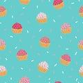 Cupcake seamless pattern.