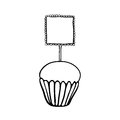 Cupcake sketch with frilly square topper decorated hand drawn black outline on white background Stock Images