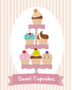 Cupcake stand delicious cupcakes of different flavors Stock Image