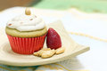 Cupcake with strawberry Stock Photos