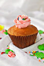 Cupcake with swirls of creamy Stock Photo