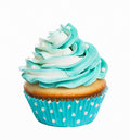 Cupcake teal birthday with butter cream icing isolated on white Royalty Free Stock Photo
