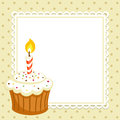 Cupcake vintage background with with candle invitation template vector illustration Stock Photo
