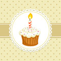 Cupcake vintage background with with candle invitation template vector illustration Royalty Free Stock Photography