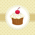 Cupcake vintage background with invitation template vector illustration Stock Photos