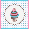 Cupcake vintage card with with strawberry vector illustration Royalty Free Stock Photos