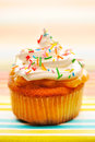 Cupcake with whipped cream Royalty Free Stock Images
