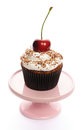 Cupcake with whipped cream and cherry Stock Photography