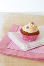 Cupcake with white icing Royalty Free Stock Photo