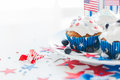 Cupcakes with american flags on independence day