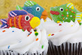 Cupcakes with Candy Fish on top Stock Photo
