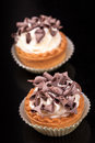 Cupcakes with chocolate chips small and whipped cream Stock Images